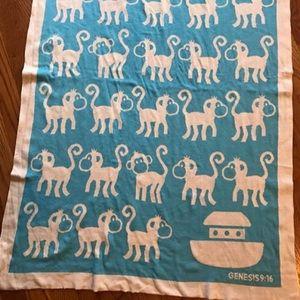 Bella Tunno  blanket blue ark Genesis monkey